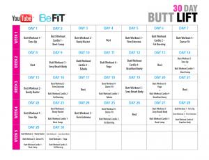 30 day butt lift workout calendar