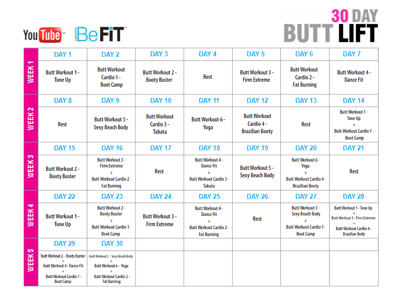 30 Day Butt Lift Workout Calendar